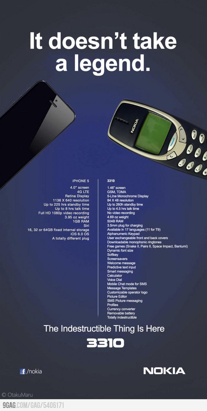 iPhone 5 vs Nokia 3310 - meme