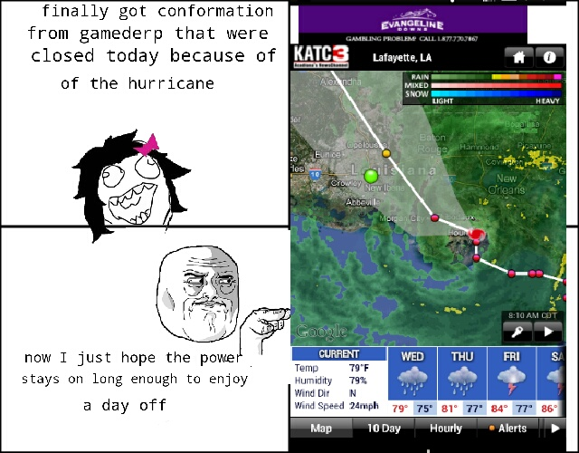 hurricane, wish me luck - meme