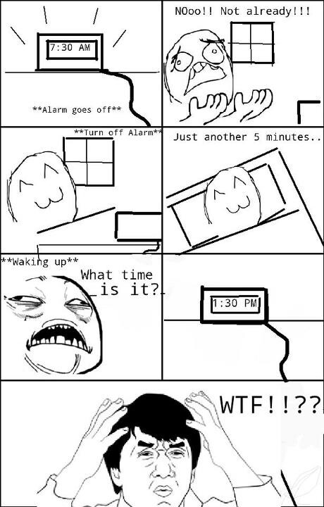 Just snoozing 5 mins... - meme